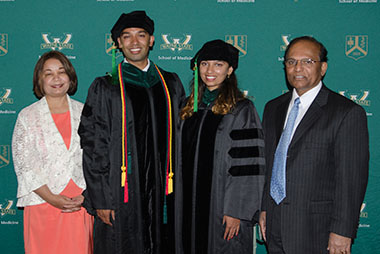 rom left to right: Dr. Ambika Mathur, Amol Kamat, M.D. '17, Aarti Kamat, M.D. '17 and Dr. Deepak Kamat at the 2017 Wayne State University School of Medicine Graduation Ceremony.