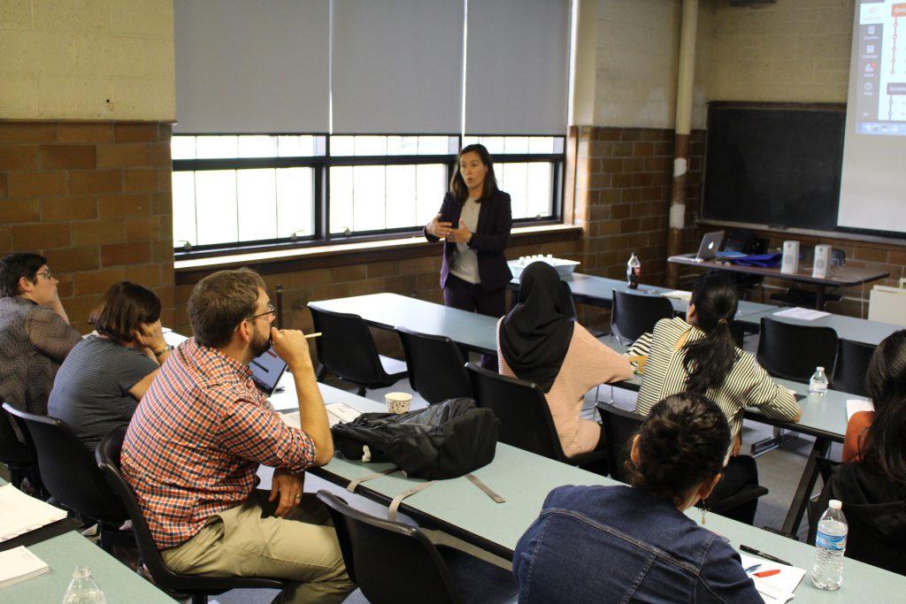 ACUE's Dr. Carmen Macharaschwili, Regional Director of Academic Programs leads kick-off orientation at University of Detroit Mercy on September 28.